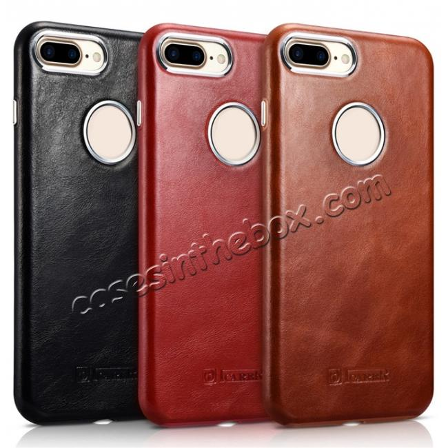 high quanlity ICARER Vintage Real Genuine Leather Back Case Cover for iPhone 7 Plus 5.5 inch - Brown