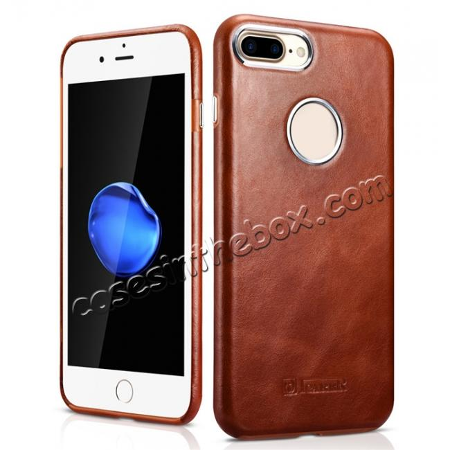 wholesale ICARER Vintage Real Genuine Leather Back Case Cover for iPhone 7 Plus 5.5 inch - Brown
