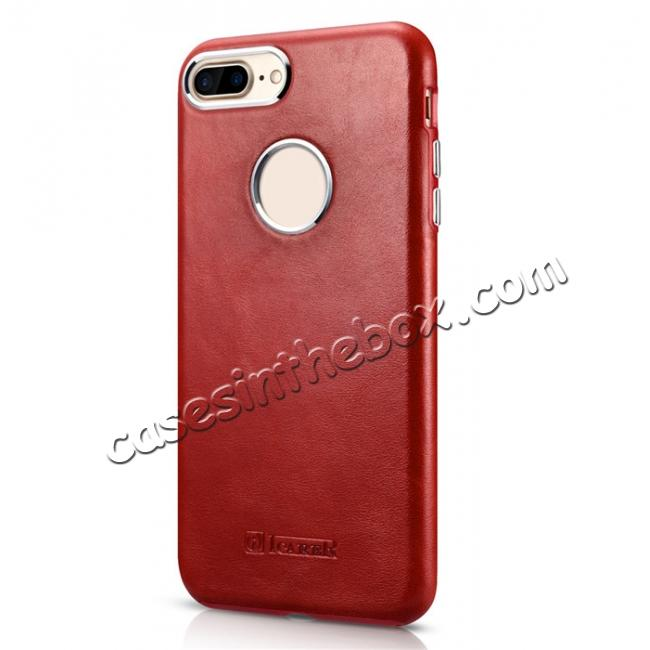 discount ICARER Vintage Real Genuine Leather Back Case Cover for iPhone 7 Plus 5.5 inch - Red