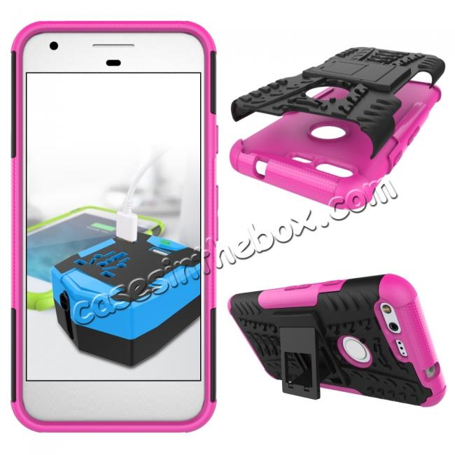 discount Shockproof Armor Tough Kickstand Phone Protective Case For Google Pixel XL 5.5 - Hot pink