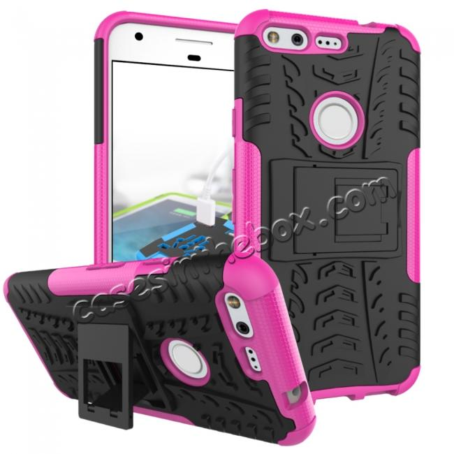 wholesale Shockproof Armor Tough Kickstand Phone Protective Case For Google Pixel XL 5.5 - Hot pink