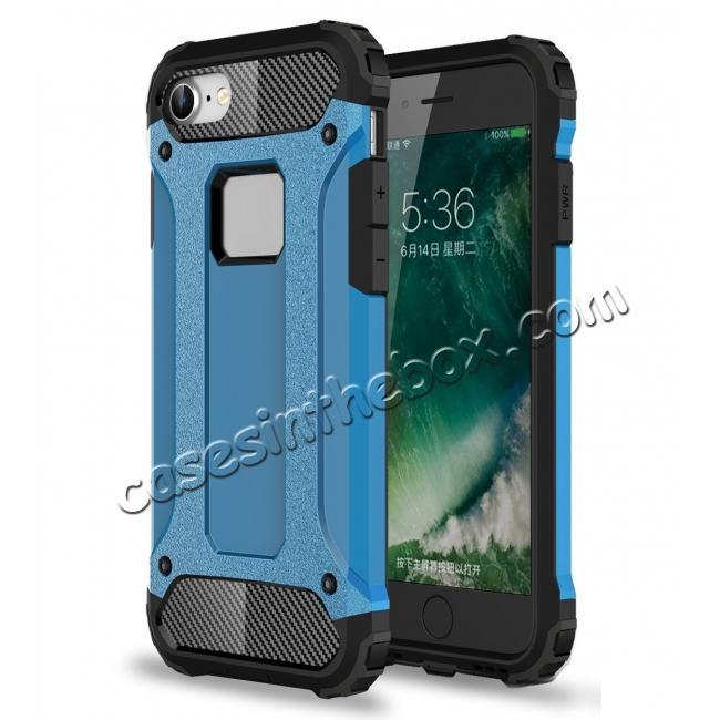 wholesale Shockproof Dual-layer Armor Hybrid Protective Case for Apple iPhone 7 4.7inch - Blue