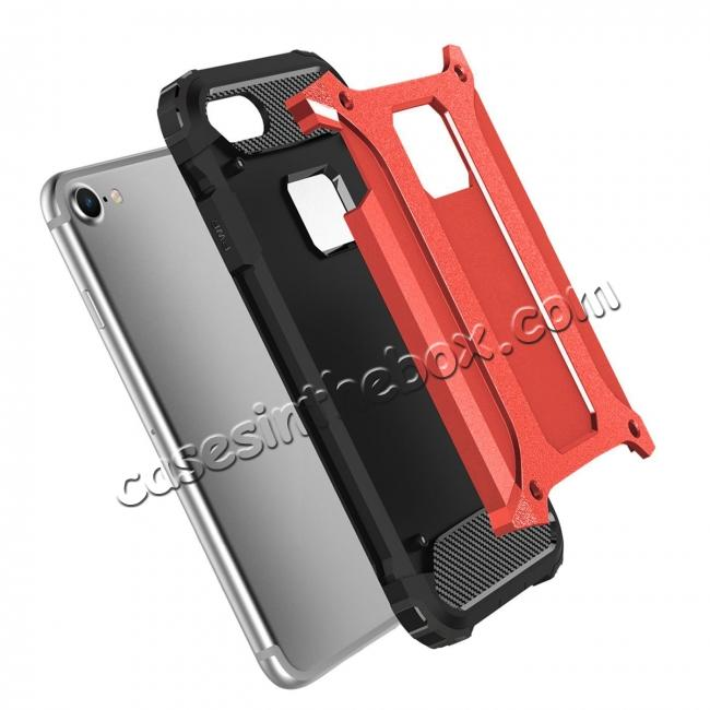 discount Shockproof Dual-layer Armor Hybrid Protective Case for Apple iPhone 7 4.7inch - Red
