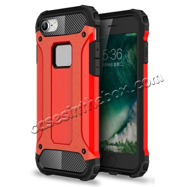 wholesale Shockproof Dual-layer Armor Hybrid Protective Case for Apple iPhone 7 4.7inch - Red