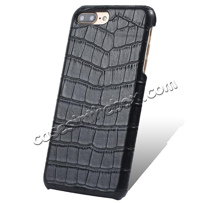 wholesale Luxury Genuine Real Leather Crocodile Back Case Cover For Apple iPhone 7 Plus - Black