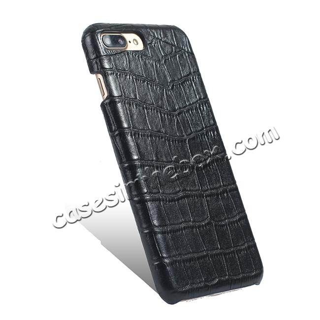 cheap Luxury Genuine Real Leather Crocodile Back Case Cover For Apple iPhone 7 Plus - Black