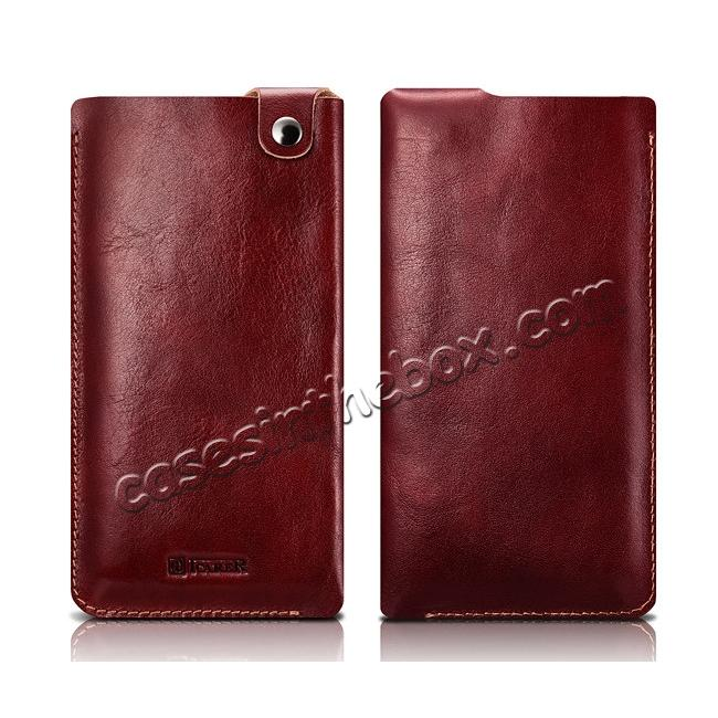 wholesale ICARER Vegetable Tanned Leather 5.5inch Straight Leather Pouch for iPhone 7 Plus - Wine Red