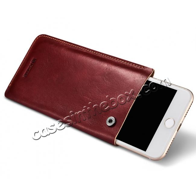 discount ICARER Vegetable Tanned Leather 5.5inch Straight Leather Pouch for iPhone 7 Plus - Wine Red