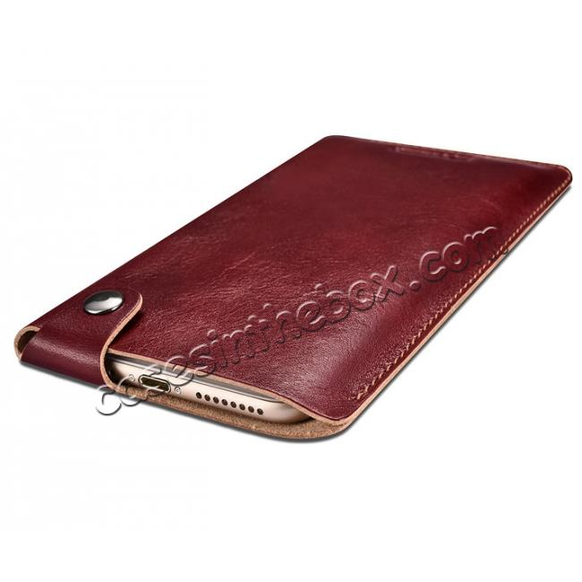 cheap ICARER Vegetable Tanned Leather 5.5inch Straight Leather Pouch for iPhone 7 Plus - Wine Red