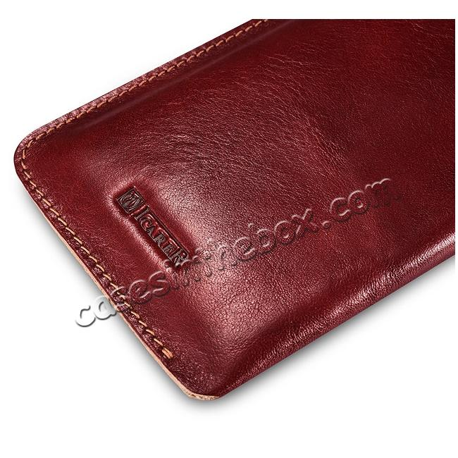 top quality ICARER Vegetable Tanned Leather 5.5inch Straight Leather Pouch for iPhone 7 Plus - Wine Red