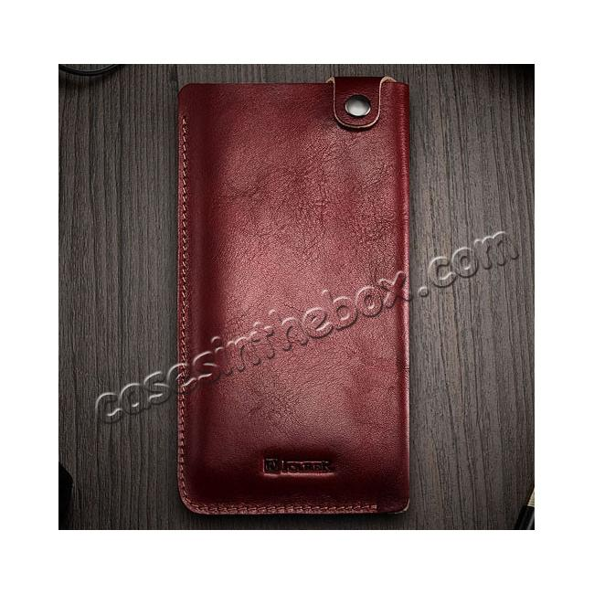 on sale ICARER Vegetable Tanned Leather 5.5inch Straight Leather Pouch for iPhone 7 Plus - Wine Red