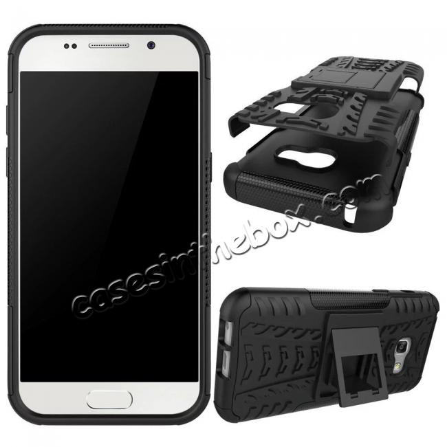 discount Shockproof Armor Kickstand Hybrid Protective Cover Case For Samsung Galaxy A7 (2017)  - Black