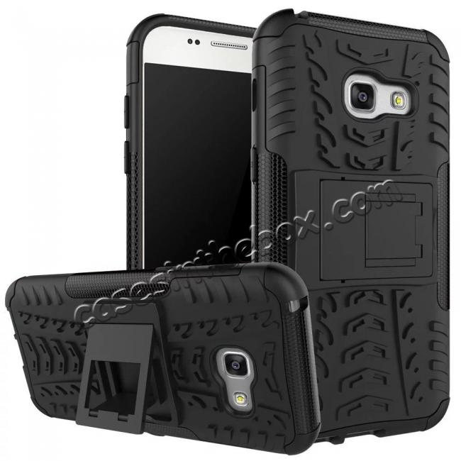 wholesale Shockproof Armor Kickstand Hybrid Protective Cover Case For Samsung Galaxy A7 (2017)  - Black