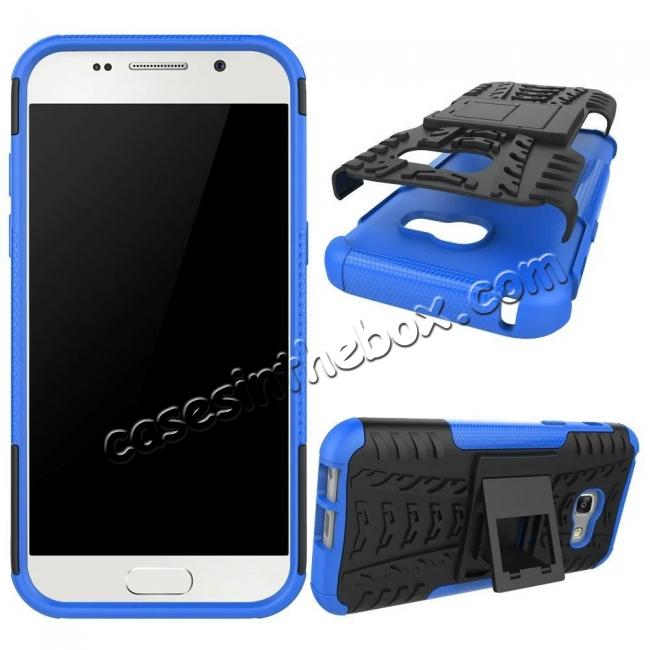 discount Shockproof Armor Kickstand Hybrid Protective Cover Case For Samsung Galaxy A7 (2017)  - Blue