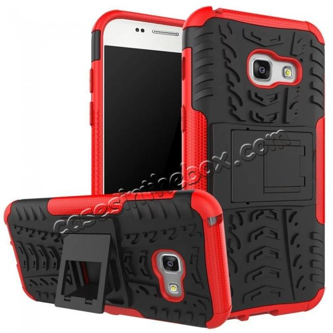 wholesale Shockproof Armor Kickstand Hybrid Protective Cover Case For Samsung Galaxy A7 (2017)  - Red