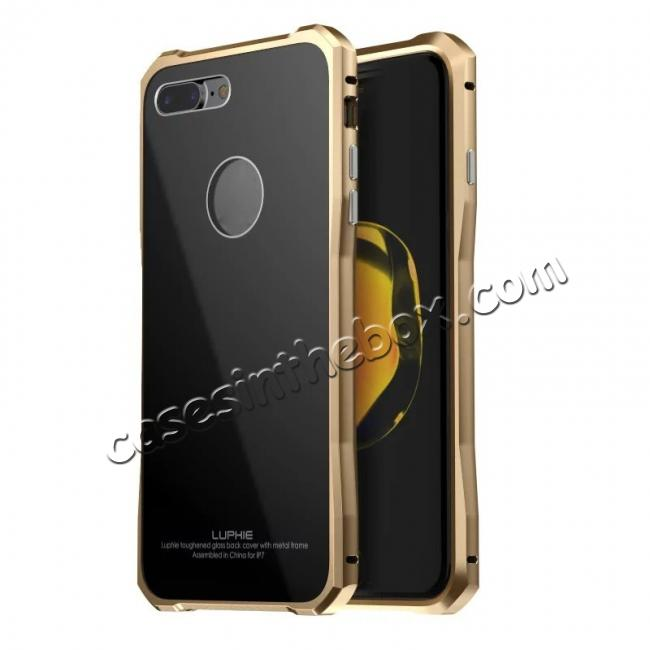 wholesale Luxury Metal Bumper Case & Gorilla Tempered Glass Back Cover For iPhone 7 Plus - Gold&Black
