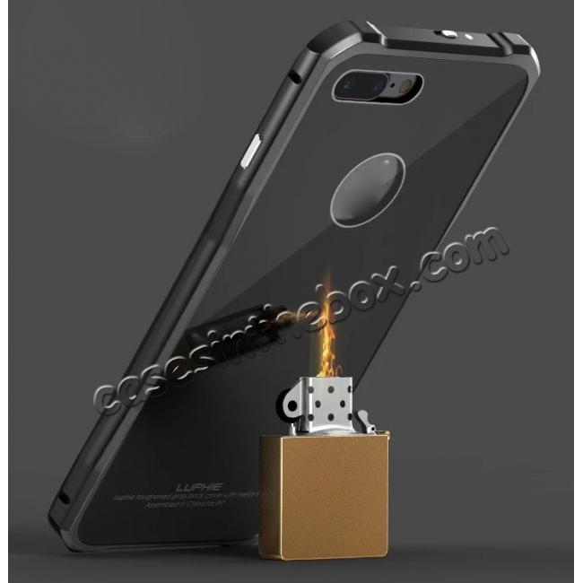 on sale Luxury Metal Bumper Case & Gorilla Tempered Glass Back Cover For iPhone 7 Plus - Gold&Black