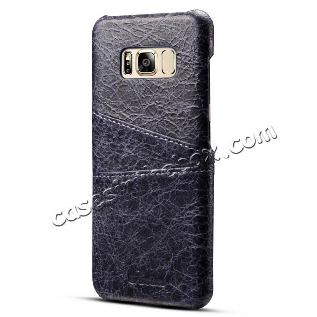 wholesale Credit Card Slot Pocket Genuine Leather Case Back Cover For Samsung Galaxy S8+ Plus - Dark Blue