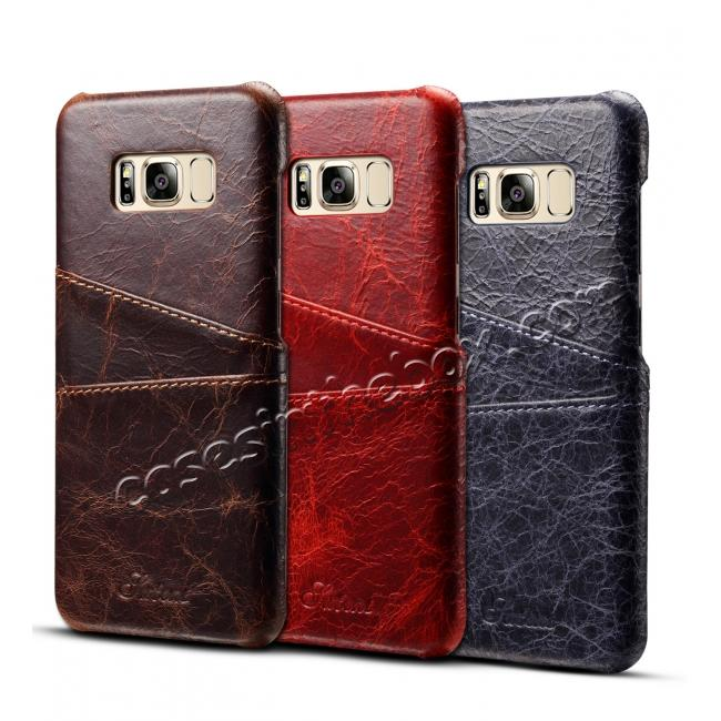 top quality Credit Card Slot Pocket Genuine Leather Case Back Cover For Samsung Galaxy S8+ Plus - Red