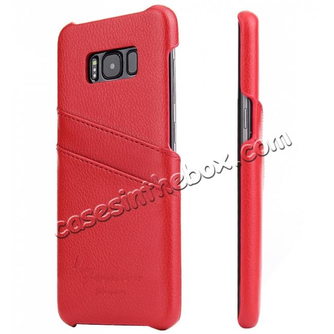 wholesale Genuine Leather Back Cover Case with 2 Credit Card ID Slots Holders for Samsung Galaxy S8+ Plus - Red