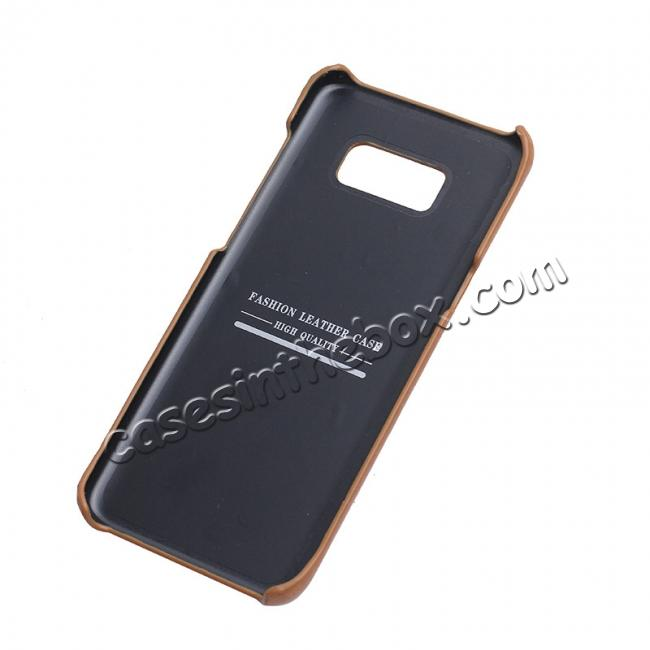 cheap Genuine Leather Matte Back Hard Case Cover for Samsung Galaxy S8 Plus - Camel