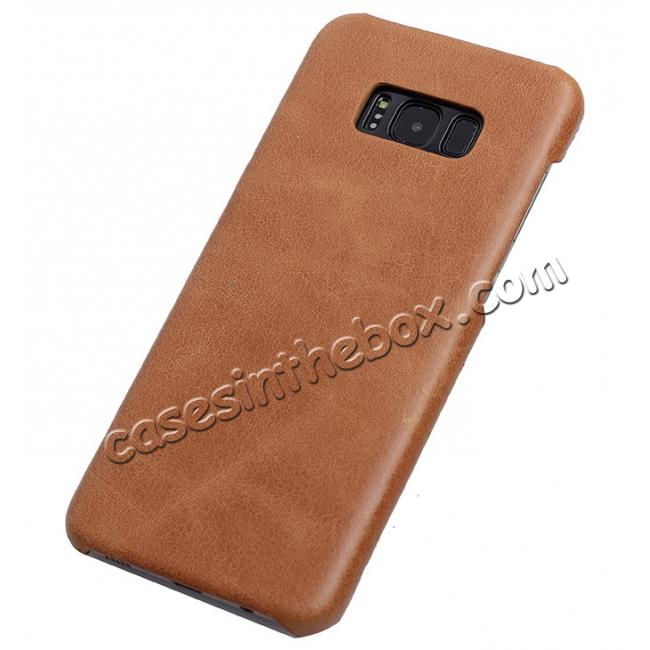 wholesale Genuine Leather Matte Back Hard Case Cover for Samsung Galaxy S8 Plus - Camel