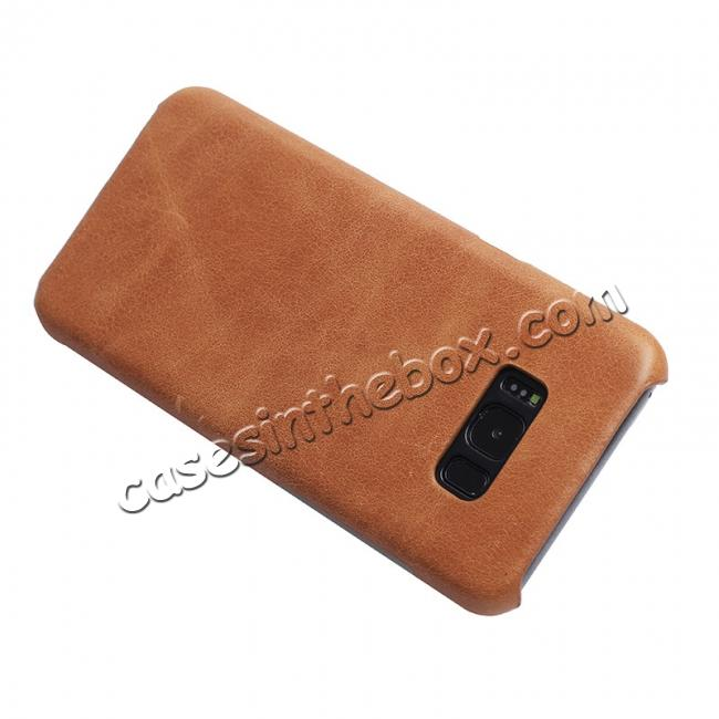 discount Genuine Leather Matte Back Hard Case Cover for Samsung Galaxy S8 Plus - Camel