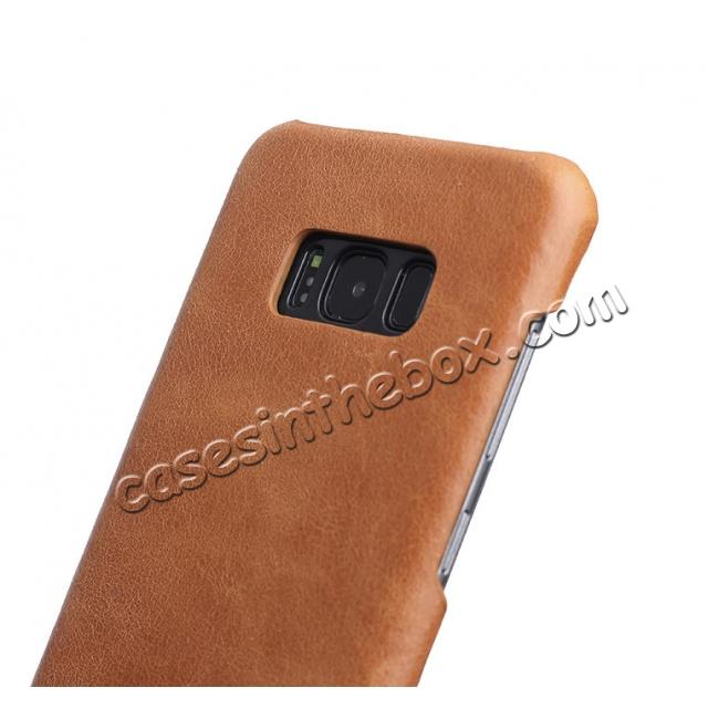 top quality Genuine Leather Matte Back Hard Case Cover for Samsung Galaxy S8 Plus - Camel