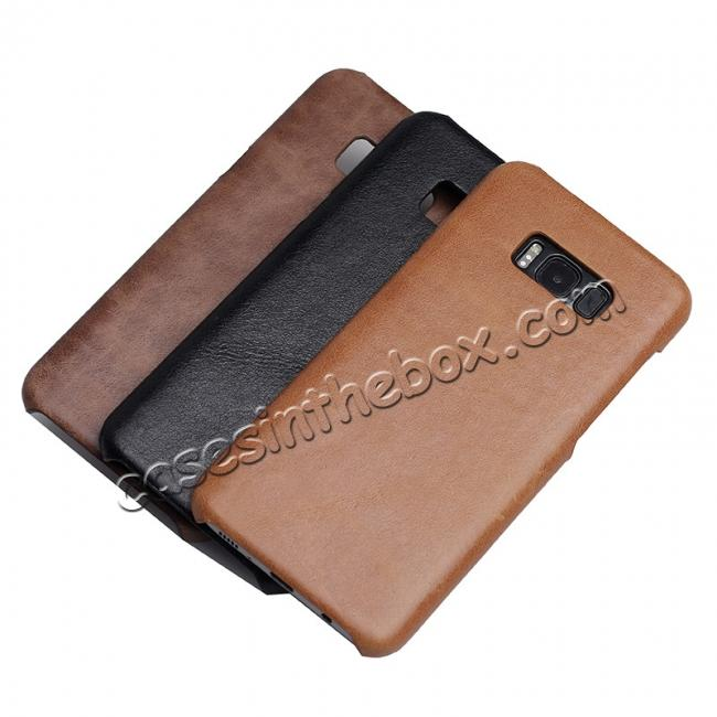 best price Genuine Leather Matte Back Hard Case Cover for Samsung Galaxy S8 Plus - Coffee