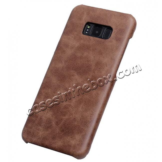 wholesale Genuine Leather Matte Back Hard Case Cover for Samsung Galaxy S8 Plus - Coffee