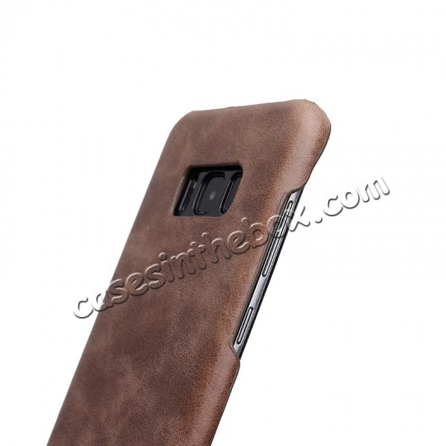 cheap Genuine Leather Matte Back Hard Case Cover for Samsung Galaxy S8 Plus - Coffee