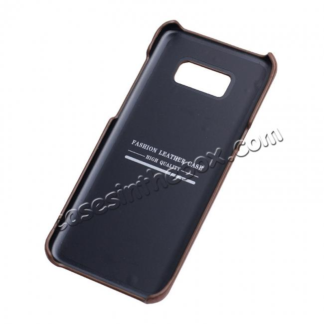 top quality Genuine Leather Matte Back Hard Case Cover for Samsung Galaxy S8 Plus - Coffee