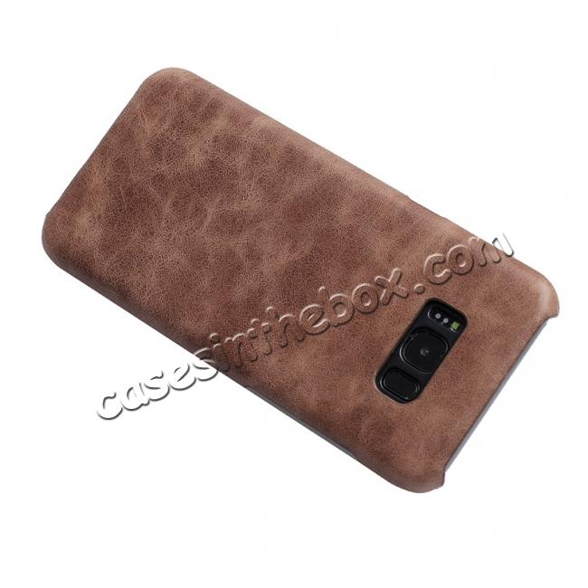 discount Genuine Leather Matte Back Hard Case Cover for Samsung Galaxy S8 Plus - Coffee