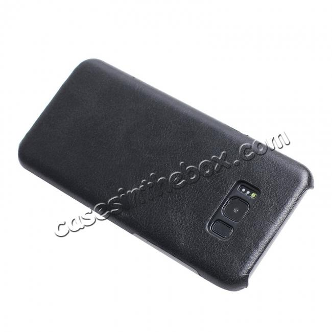 discount Genuine Leather Matte Back Hard Protective Case Skin Cover for Samsung Galaxy S8 - Black