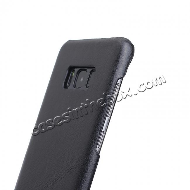 cheap Genuine Leather Matte Back Hard Protective Case Skin Cover for Samsung Galaxy S8 - Black