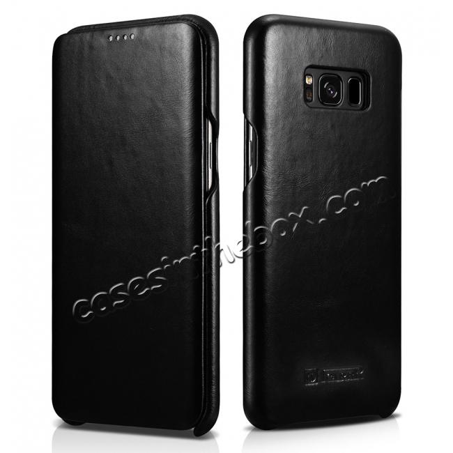 wholesale ICARER Curved Edge Vintage Series Cowhide Leather Side open Flip Folio Protective Case Cover for Samsung Galaxy S8+ Plus - Black