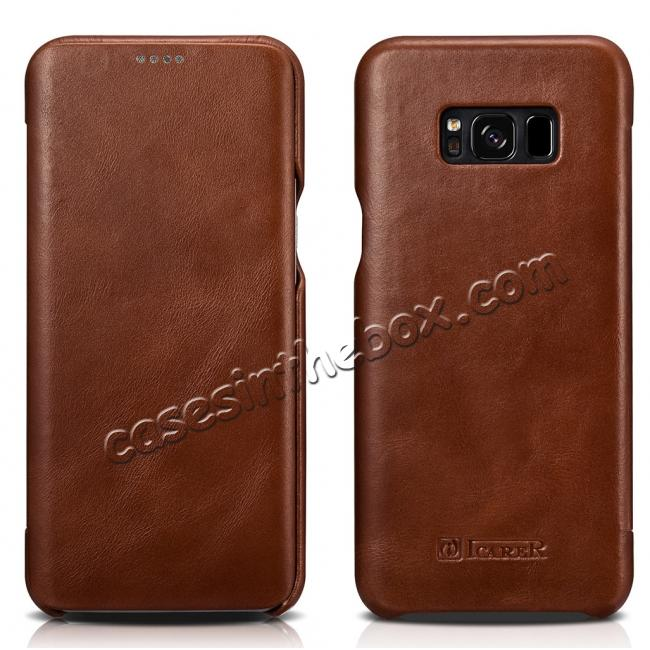 wholesale ICARER Curved Edge Vintage Series Genuine Leather Side Flip Case For Samsung Galaxy S8 - Brown