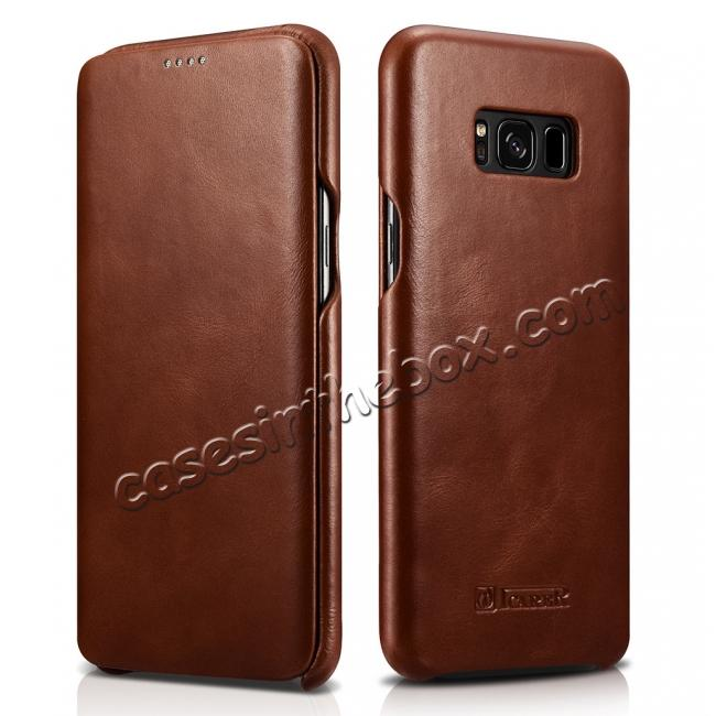 discount ICARER Curved Edge Vintage Series Genuine Leather Side Flip Case For Samsung Galaxy S8 - Brown