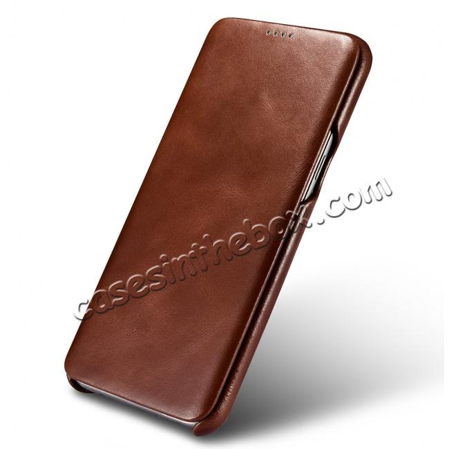on sale ICARER Curved Edge Vintage Series Genuine Leather Side Flip Case For Samsung Galaxy S8 - Brown