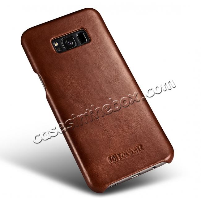 low price ICARER Curved Edge Vintage Series Genuine Leather Side Flip Case For Samsung Galaxy S8 - Brown