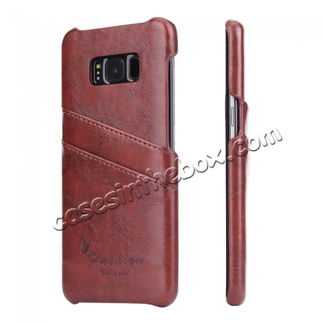 wholesale Oil Wax Pu Leather Credit Card Holder Back Case Cover for Samsung Galaxy S8 Plus - Brown