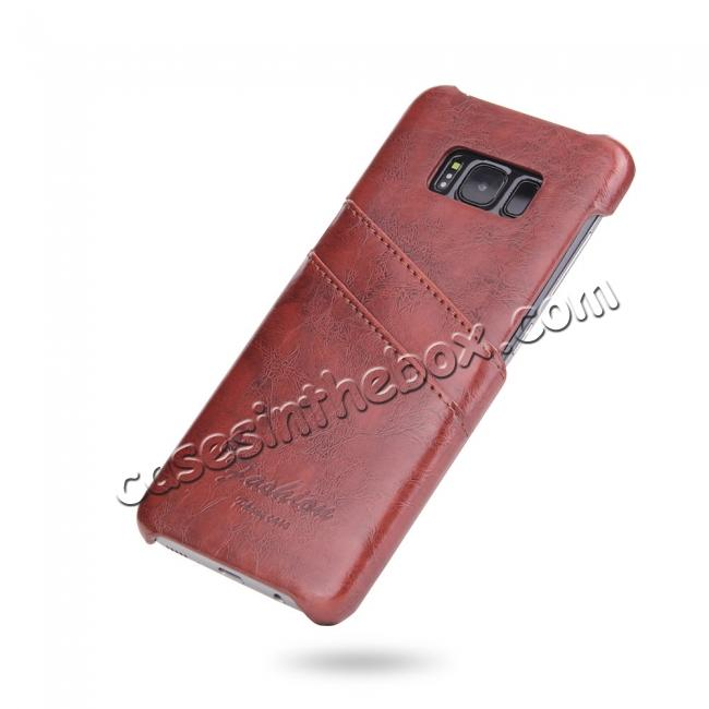 discount Oil Wax Pu Leather Credit Card Holder Back Case Cover for Samsung Galaxy S8 Plus - Brown