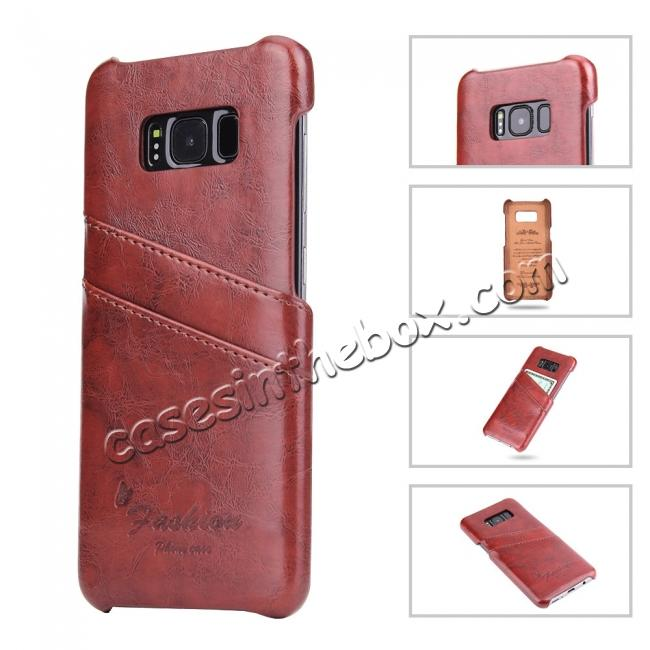 cheap Oil Wax Pu Leather Credit Card Holder Back Case Cover for Samsung Galaxy S8 Plus - Brown