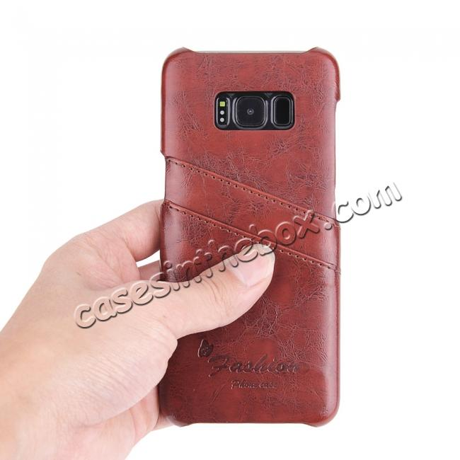 best price Oil Wax Pu Leather Credit Card Holder Back Case Cover for Samsung Galaxy S8 Plus - Brown