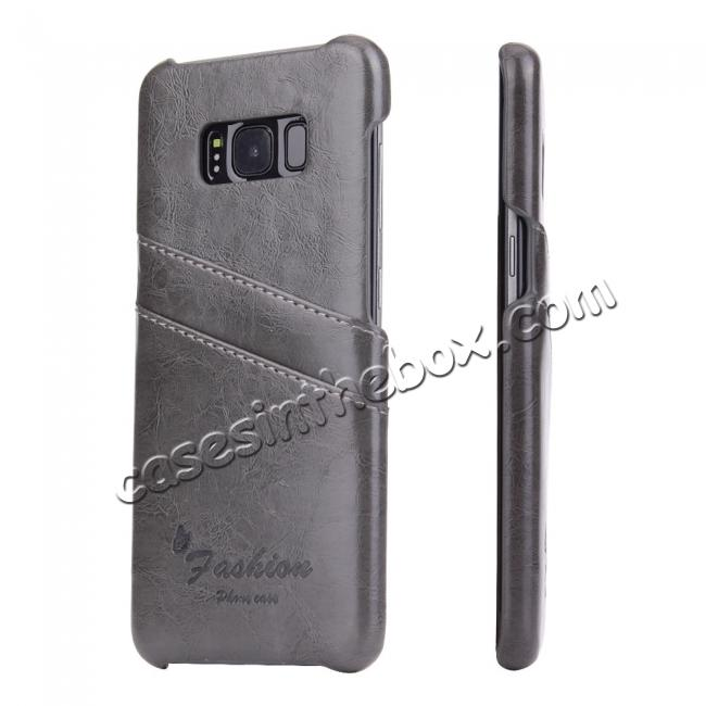 wholesale Oil Wax Pu Leather Credit Card Holder Back Case Cover for Samsung Galaxy S8 Plus - Grey
