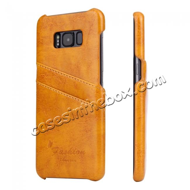 wholesale Oil Wax Pu Leather Credit Card Holder Back Case Cover for Samsung Galaxy S8 Plus - Orange