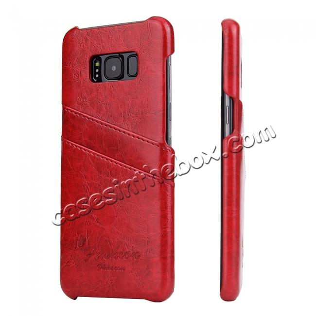 wholesale Oil Wax Pu Leather Credit Card Holder Back Case Cover for Samsung Galaxy S8 Plus - Red