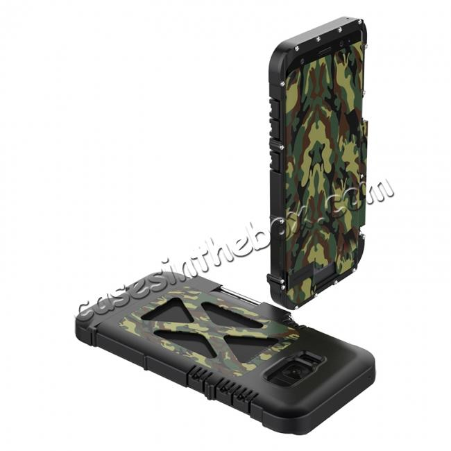 discount R-JUST Aluminum Metal  Shockproof Full Body Case For Samsung Galax S8 Plus - Camouflage