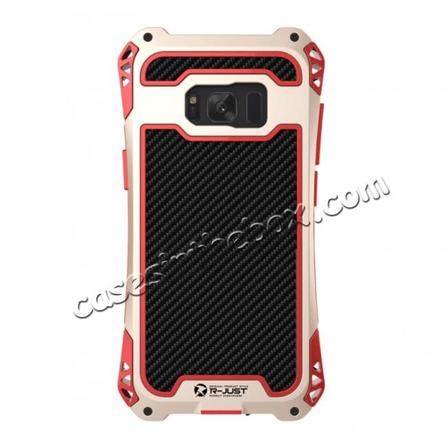 metal galaxy s8 case,cheap R-just Full-body Aluminum Alloy Metal Bumper Shockproof Dropproof Cover Case For Samsung Galaxy S8 - Red&Gold