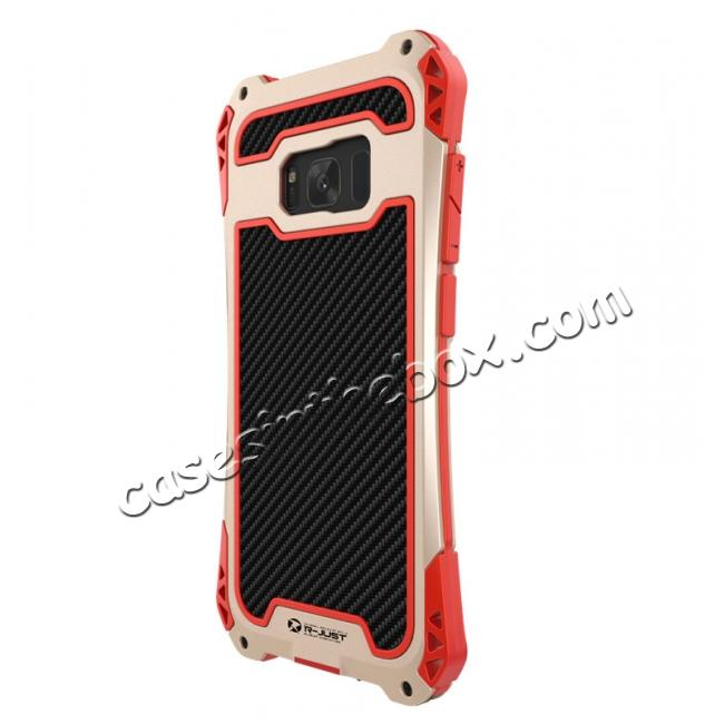 aluminum cases for samsung s8,top quality R-just Full-body Aluminum Alloy Metal Bumper Shockproof Dropproof Cover Case For Samsung Galaxy S8 - Red&Gold